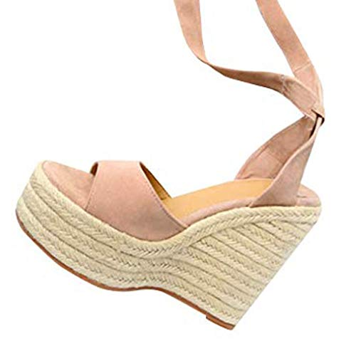 Hot!! Women Fashion Buckle Strap Sandals Ladies Casual Summer Wedge High Heel Platform Peep Toe Shoes Beige