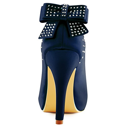 Boda Arco Aguja Plataforma Satén Rhinestone Nudo Zapatos Fiesta Tacón Mujer ip Elegantpark Azul Marino Ep11034 De La qTw0g6F