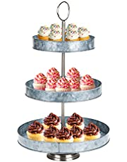 Mind Reader Round, Dessert Handle, Rustic Design Appetizer Serving Tray Tower, Tiered Cupcake Stand, 3, Silver