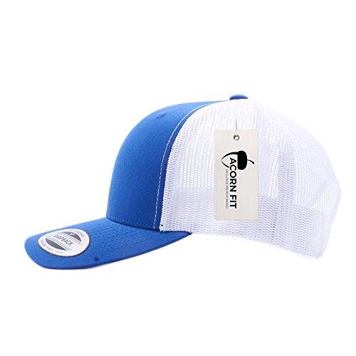 Blue Mesh Trucker Hat - Acorn Yupoong Classic 6606, 6606T, 6606W, Retro Trucker Hats, Mesh Back Baseball Caps (Royal/White)