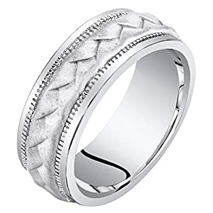 Mens Sterling Silver Criss-Cross Pattern Wedding Ring Band 8mm Comfort Fit Sizes 8 to 14