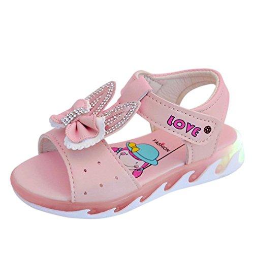 YJYdada Children Infant Kids Girls Crystal Bowknot Light Sandals Casual Single Shoes (21, Pink)