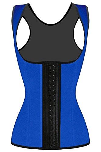 JerrisApparel Mujer deshuesado acero Látex cintura Trainer corsé Chaleco Azul