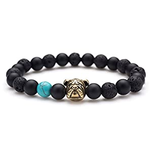Karseer Anti Anxiety Dog Mascot Natural Onyx and Lava Rock Beads Bracelet Friendship Jewelry Gift Unisex