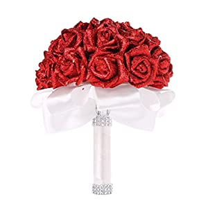 YJYDADA Wedding Bouquet,Crystal Roses Pearl Bridesmaid Wedding Bouquet Bridal Artificial Silk Flowers (Red) 31