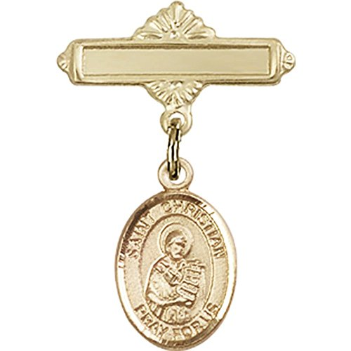14kt Yellow Gold Baby Badge with St. Christian Demosthenes Charm and Polished Badge Pin 1 X 5/8 inches by Bonyak Jewelry Saint Medal Collection