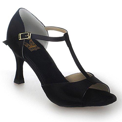 JIAJIA 20511 Women's Satin Sandals Flared Heel Latin Salsa Performance Dance Shoes Color Black,Size 10.5 B(M) US/42 EU