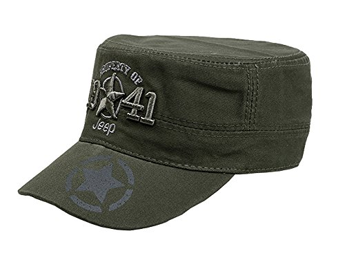 Jeep 1941 Men's Adjustable Military Radar Cap,Green