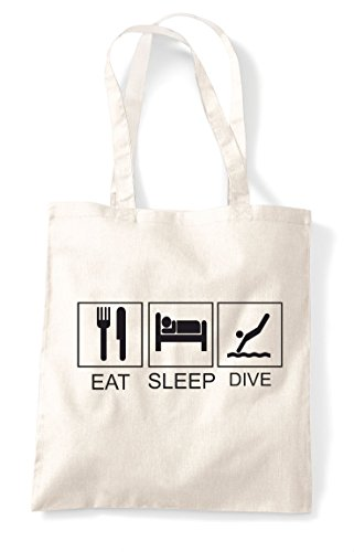 Tote Tiles Funny Sleep Dive Activity Shopper Bag Hobby Natural Eat WEZYqvww