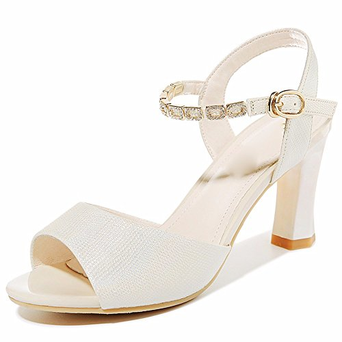 KHSKX-The Golden 7.5Cm Sandals Women With A Thick High-Heeled Shoes Buckle Girls With All-Match Fish Mouth Singles Shoes Thirty-five