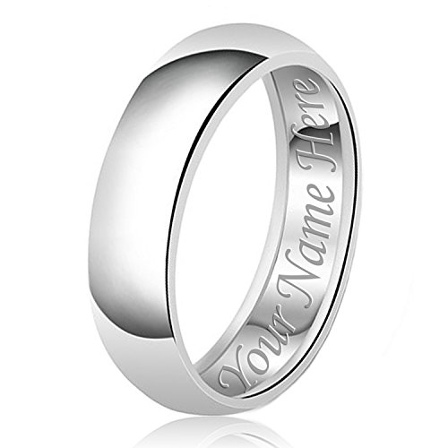 8mm Personalized Name Engraving Classic Sterling Silver Plain Wedding Band Ring, Size 7