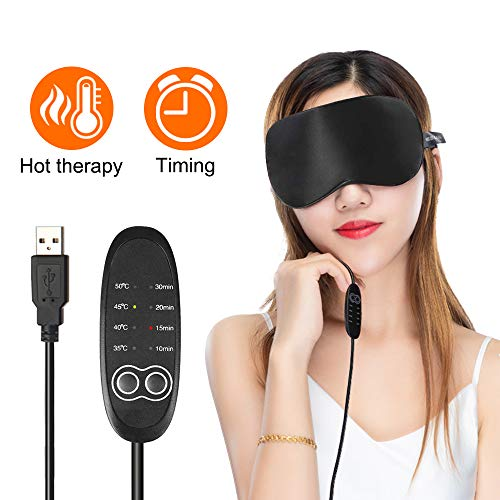 USB Steam Eye Mask, Adjustable Temperature Control Electric Heated Eye Mask to Relieve Eye Stress, Warm Therapeutic Treatment for Dry Eye, Blepharitis, Styes (Black)