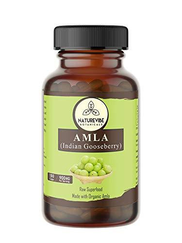 Naturevibe Botanicals Amlaki Capsules, 100% Organic Amla Berry Powder, 900mg Per Serving | 180 Veg Capsules | Gluten free ...