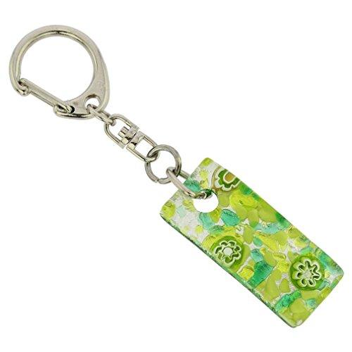 GlassOfVenice Murano Glass Colors Stick Keychain - Green Silver