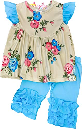 Tan Short Set - Little Girls Spring Easter Floral Ruffles Short Set Blue Tan 6/XXL