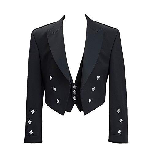 New Mens Black Prince Charlie Kilt Jacket and Coatee Vest - Perfect for - Charlie Kilt Prince