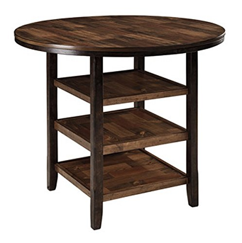 Ashley Furniture Signature Design - Moriann Counter Height Dining Room Table - Round with 3 Shelves - Vintage Casual - Dark Brown (Small Round High Table)