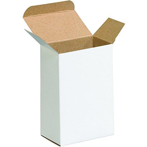 "Aviditi RTD5W Reverse Tuck Folding Cartons, 3 1/2"" x 2 1/2"" x 5 1/2"", White (Pack of 250)"