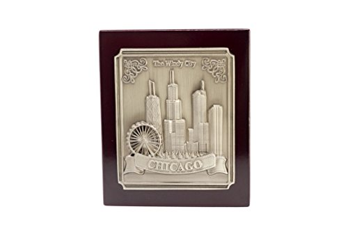 Bronze and Rosewood City of Chicago Skyline Souvenir Table/Desktop Decoration(3 x 3.5 x .5 - Illinois Hancock Building Chicago