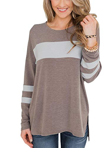 (Hilltichu Women's Color Block Long Sleeve Shirt Pullover Round Neck Side Split High Low Tunic Tops )