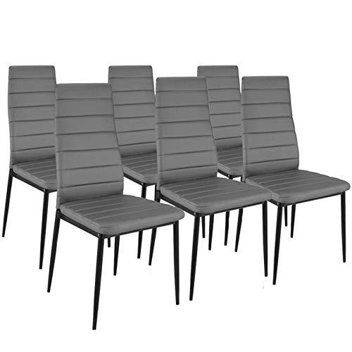 IDMarket - Lot de 6 chaises ROMANE grises pour salle à manger