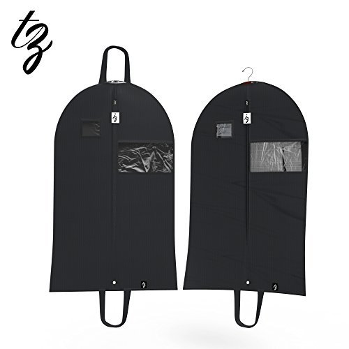TOP QUALITY (SET OF 2) Breathable 42 Inch Garment Bags, Lightweight, Easy Carrying Shoulder Straps, Window For Viewing, PVC Card Holder, Anti-Moth Protector, Water Res, #5 Zipper, [Updated Version]