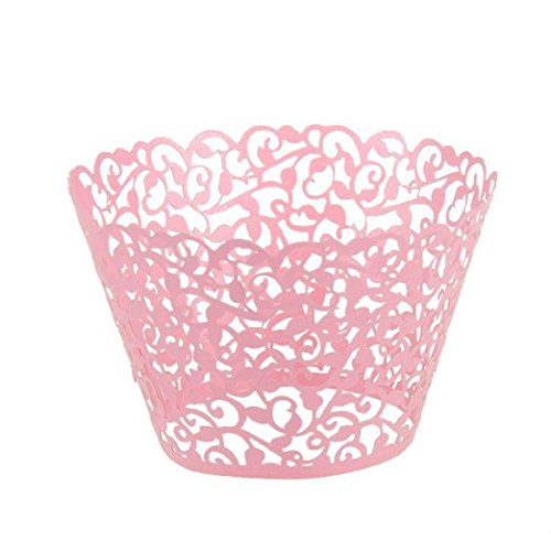 Gospire 50 pcs Pearl Lace Filigree Wedding Cupcake Wrapper Baking Cake Cups Wraps Party Decoration Laser Cut Pink