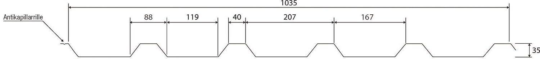 Material Stahl Farbe Rotbraun Beschichtung 25 /µm Dachblech Trapezblech Profilblech St/ärke 0,50 mm Profil PS35//1035TRA