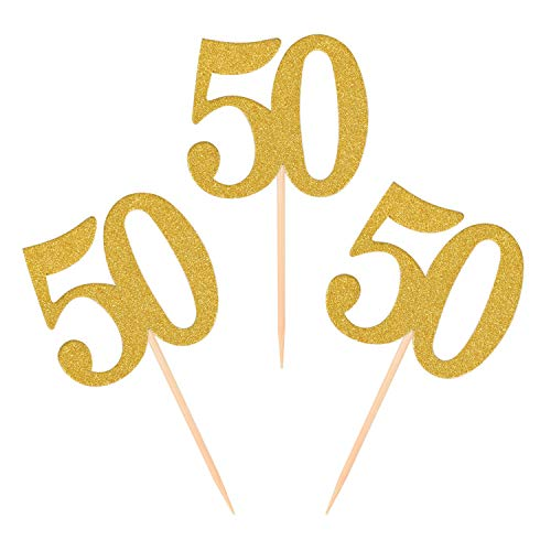 Donoter 50pcs 50th Cupcake Toppers Gold Glitter Number 50 Cake Picks for Birthday Anniversary Party Decoration