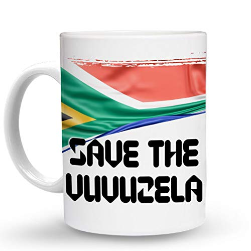 Makoroni - SAVE THE VUVUZELA South Africa Flag South African - 11 Oz. Unique COFFEE MUG, Coffee -