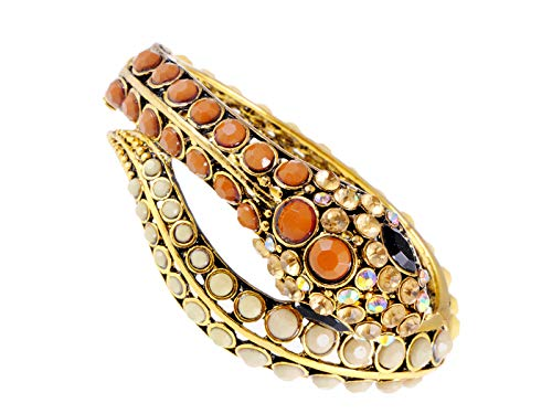 Alilang Womens Golden Tone Brown Ivory Beaded Egyptian Exotic Snake Bangle Bracelet -