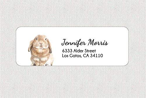 (Customized Cute Bunny Rabbit Return Shipping Address Label - Personalized Animal Lover Gift)