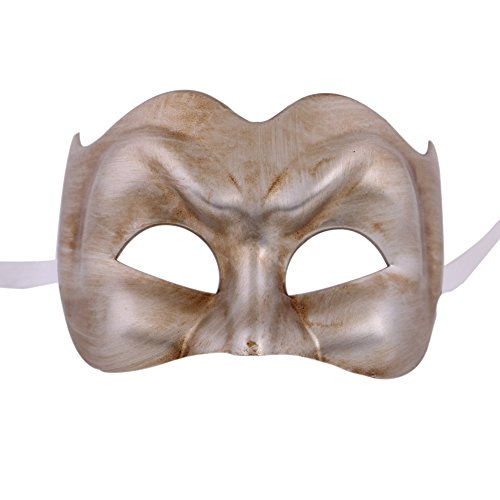 [Xvevina Venetian Joker Jester Half Face Halloween Masquerade Carnival Costume Mask (antique Silver)] (The Joker Masquerade Costume)