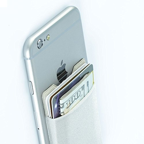 Mobile Stick-on Pocket,Magic Vosom Card Wallet for Iphone 7 6s 6 plus Samsung C5 Nexus smartphone (Silver)