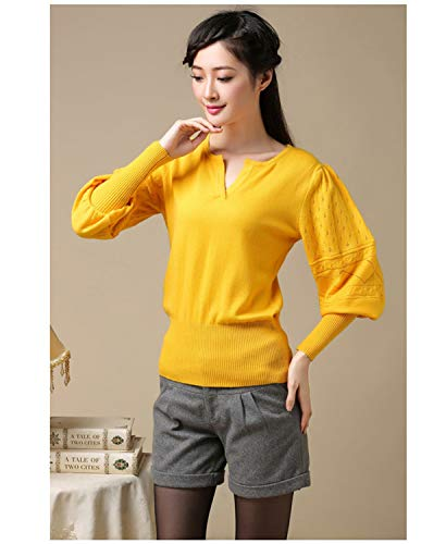 Spring Autumn Sweater V-Neck Lantern Sleeve Sweater Pullovers Long Sleeve Women Sweaters Yellow M