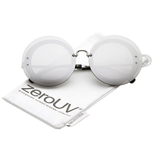 zeroUV - Bold Oversize Rimless Round Circle Color Mirrored Flat Lens Sunglasses 65mm (Silver / Silver - 65mm Sunglasses