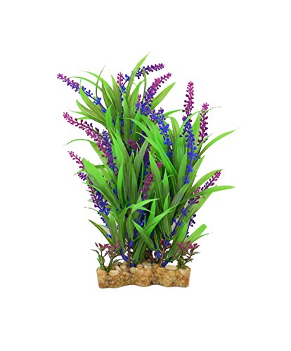 CNZ Aquarium Decor Fish Tank Decoration Ornament Artificial Plastic Plant Green/Purple, 11-inch