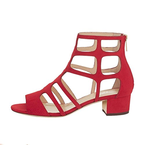 YDN Women Sexy Peep Toe Strappy Cutout Sandals Ankle High Block Low Heel Dress Shoes With Zips Red under $60 for sale shop for cheap online XBkMYvz