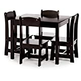 Phoenix Home Fermo Kid's Wood Table and Chair Set, Vanilla Bean Black