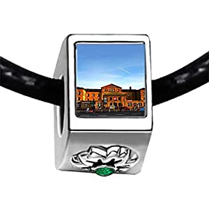 Chicforest Silver Plated Travel Bamberg train station Photo Emerald Green Crystal May Birthstone Flower Charm Beads Fits Pandora Charms