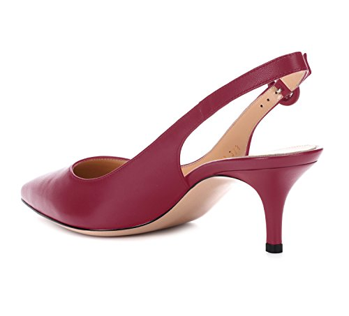 Ankle Basic Heels On Kitten Slip Pumps Pointy Shoes Women's Court Stiletto Wine Toe Ubeauty Sandals Slingback Strap 67nzqx5