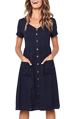 Angashion Women's Dresses-Short Sleeve V Neck Button T Shirt Midi Skater Dress with Pockets Navy Blue XL