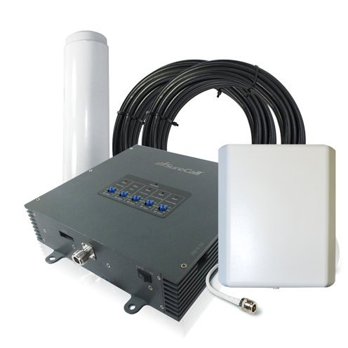 SureCall Force 5 3G 4G Quad Band Adjustable Cell Phone Signal Booster Kit for Large Buildings - SC-PolyO-72-OP-Kit - Outside Omni and inside Panel Antenna