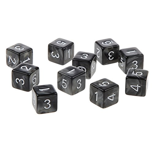 Prettyia 10pcs 6 Sided Acrylic Dice - Black with White Numbers - Perfect for Tabletop Wargames and RPGs MTG TRPG Roleplaying Games