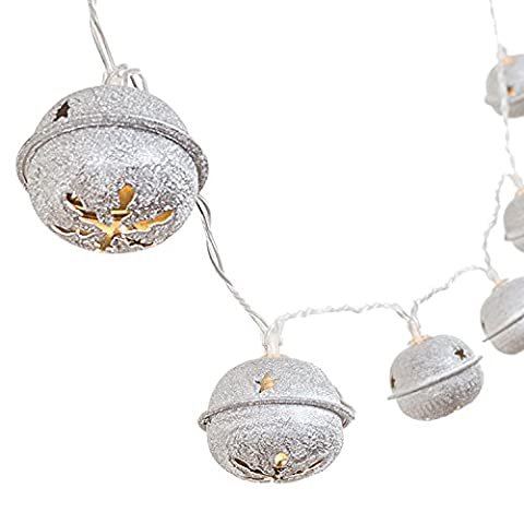 Ling's moment Jingle Bell LED String Lights Battery Operated 5Ft 10-Light Silver Retro Bell Holiday Fairy Lights For Christmas Tree, Party, Patio, Wedding, Home Decorations (Warm White - Jingle Bell Lights