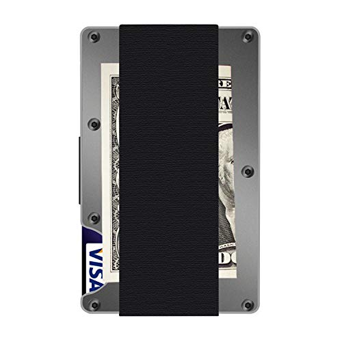 (Aluminum Metal Wallet, RFID Blocking Minimalist Wallet, Slim Wallet, Money Clip (E-Grey))