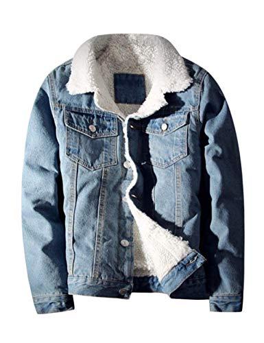 Springrain Men's Winter Sherpa Lined Denim Jacket Windbreaker Trucker Jacket (Light Blue, X-Large) ()