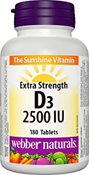 Webber Naturals Extra Strength Vitamin D3 2,500 IU, 180 Tablets, For Healthy Bones, Teeth, and the Maintenance