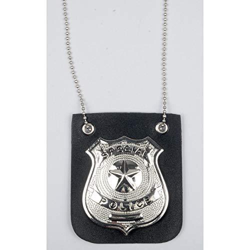 Loftus Special Police Metal Badge Necklace, SIlver Black, -