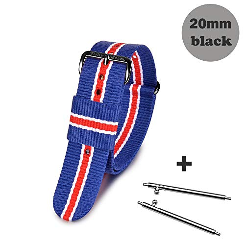 Welly Merck Interchangeable Colorful NATO Style Nylon Watch Strap/Band 18mm 20mm for Men Women with Fast Release Spring Bar (20mm, Blue-red-BK)